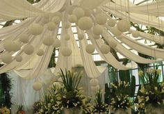16 inch Traditional White Paper Lanterns from the Hanging Lantern Company. The 16 inch white lantern is our most common paper lanterns, and it looks great on its own, or hanging with other lanterns. Wedding Draping, Elegant Wedding, Diy Wedding, Wedding Events, Wedding Flowers, Weddings, Wedding White, Reception Decorations, Event Decor