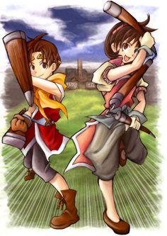 Suikoden II - Riou and Nanami Video Game Art, Video Games, Suikoden, Nanami, Final Fantasy, Saga, Destiny, Fangirl, Original Art