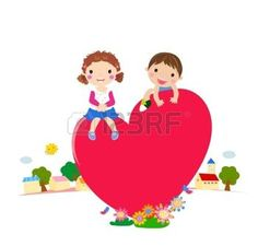 Cartoon Jungen und M�dchen in der Liebe Vektor photo