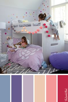 Create a girls bedroom with lots of purple accents.