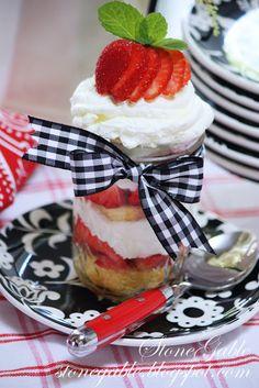 4th of July Strawberry Shortcake in a Mason Jar.