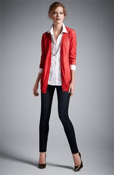 Caslon Snap Front Tissue Weight Cardigan, Caslon Boyfriend Fit Crosshatch Weave Shirt, Wit & Wisdom Dot Print Denim Leggings, Sam Edelman 'Celia' Pump, Nordstrom Long Oval Link Necklace (total outfit: $223, not counting shoes which are sold out)   Nordstrom