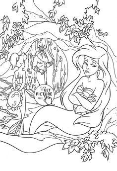 walt disney coloring pages - flounder, sebastian, princess