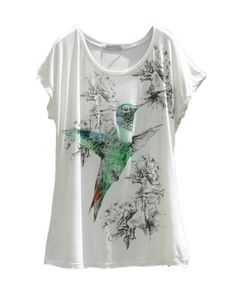 Bird Print Batwing Tees in Modal , view more photos: http://darim24.com/bird-print-batwing-tees-in-modal-p408965
