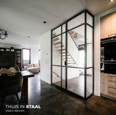 Loft Staircase, Country Modern Home, Open Plan Kitchen, Living Room Kitchen, Home Staging, Beautiful Interiors, Modern Interior Design, Aluminium, Glass Door