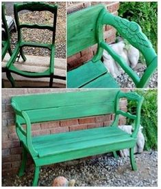Two chairs made into a bench