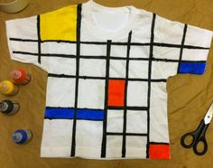 T-shirt Halloween: Make a Mini Mondrian! – Do it YourSelf Interior Design T Shirt Halloween, Halloween Make, Halloween Projects, Halloween Costumes, Black Fabric Paint, Fabric Painting, Piet Mondrian, Chef D Oeuvre, Oeuvre D'art