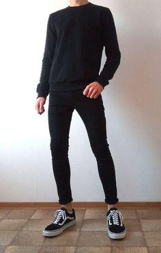 vans old skool black skinny jeans boys guys outfit Vintage Outfits, Classy Outfits, Boy Outfits, Casual Outfits, Men Casual, Fashion Outfits, Vans Outfit, Vans Old Skool Schwarz, Male Clothes