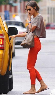 Orange skinnies and a crop top