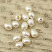 ETS-L0051 2.5mm large hole freshwater pearls, 9-10mm rice loose pearl beads, loose freshwater pearl, 10 pcs