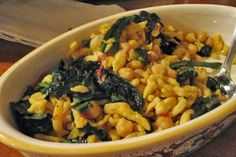 Chickpea spaetzle - grain-free and a similar texture to regular spaetzle, suitable for frying up