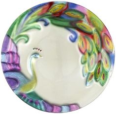 Glass fusion peacock platter by Ganz