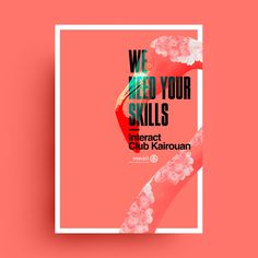 Creative Poster Inspiration Examples & Templates – Daily Design Inspiration - Red Dutone Now Hiring Poster - Everything about this poster was expertly designed to catch your eye, from the bold colors to the beautiful duotone flamingo. Creative Poster Design, Creative Posters, Graphic Design Posters, Poster Designs, Bold Typography, Typography Poster, Grid Design, Layout Design, Typo Design