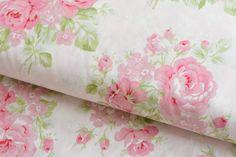 Stoff Rosen - Zarter Rosenstoff Emma's Garden Pastell Rosa - ein Designerstück…