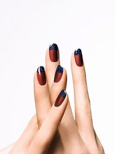 30 New Ways to Update Your French Manicure. - Take a sparkly red-and-navy combo out for a spin.