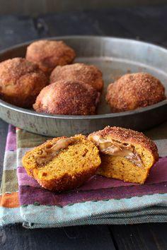 Biscoff Stuffed Pumpkin Mini Muffins
