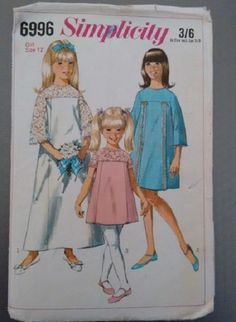 60's Vintage Simplicity 6996 Sewing pattern 1967 Girls Bridesmaid Confirmation Party Dress Gown Frock by CartrefEclectig on Etsy