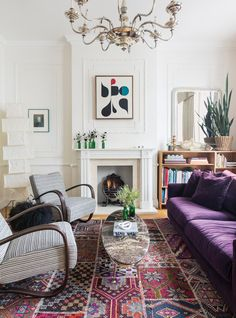 Purple and Red and White Living room