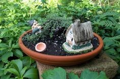 Fairy Gardens – The Owner-Builder Network Indoor Fairy Gardens, Mini Fairy Garden, Mini Gardens, Raised Gardens, Garden Crafts, Garden Ideas, Fairy Houses, Woman Painting, Amazing Gardens