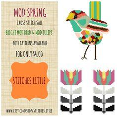 Retro Modern Cross Stitch Patterns  Cross Stitch by StitchesLittle, $4.00