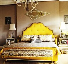 Nothing mellow yellow about this tufted headboard! Yellow Headboard, Yellow Bedding, Bedding Sets, Dream Bedroom, Home Bedroom, Bedroom Decor, Master Bedroom, Master Suite, Bedroom Sets