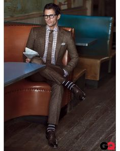 James Marsden in Tweed Suits for Fall - Suit, $2,695, shirt, $425, and tie, $145, by Simon Spurr. Shoes, $1,250 by Tom Ford. Socks by Smart Turnout. Glasses by Blind Eyewear. Pocket square by Lands' End Canvas. Tie bar by The Tie Bar.