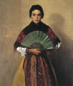from Mississippi Museum of Art exhibit Spanish Sojourns: Robert Henri and the Spirit of Spain. Robert Henri The Green Fan (Girl of Toledo, Spain), oil on canvas. 41 x 33 in. Gibbes Museum of Art, Charleston, South Carolina American Realism, American Artists, Woman Painting, Painting & Drawing, Figure Painting, William Glackens, Mississippi Museum Of Art, Cincinnati, Robert Henri