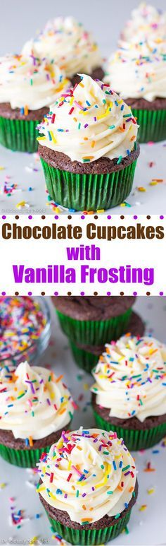 Classic Chocolate Cupcakes with Vanilla Frosting: