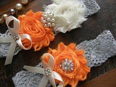 orange and gray! Garter / Wedding Garters / Light Blue / Orange by FalabellaBridal, $20.80