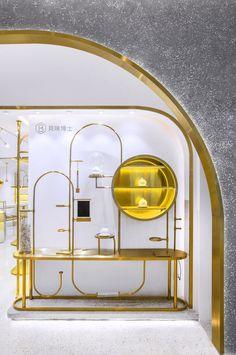 Shop interiors - Dr Bravura Bird's Nest Drink & Dessert Store – Shop interiors Retail Store Design, Retail Shop, Display Design, Wall Design, Art Deco, Art Nouveau, Shanghai, Jewellery Shop Design, Showroom Design