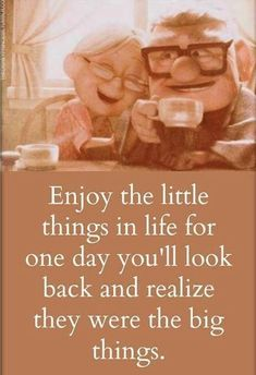 Enjoy the little things in life for one day you will look back and realize they were the big things.