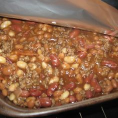 My son Brian will eat these for a week. He absolutely loves them. Whatever beans you have throw in. I put different beans in each time depending on what is in the cupboard. Great for a potluck, camping or picnic. Side Dish Recipes, Dinner Recipes, Dinner Ideas, Great Recipes, Favorite Recipes, Yummy Recipes, Yummy Food, Interesting Recipes, Special Recipes