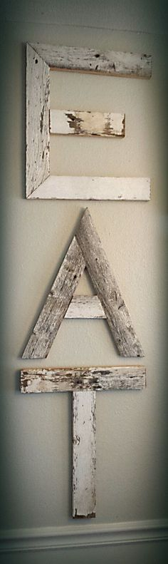 Reclaimed Barnwood EAT Sign by on Etsy by rosella Country Decor, Rustic Decor, Farmhouse Decor, Barn Wood Projects, Home Projects, Eat Sign, 3d Laser, Pallet Art, Pallet Wood