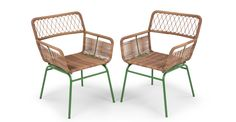 Lyra Outdoor Dining Chair Set, Green