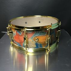 """Skippack Drums 14 x 6"""" Custom 8 ply Maple hand-painted Koi Snare Drum outfitted with brass hardware and 45 degree bearing edges"""