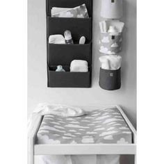 Farg Form . Baby Changing Table Mat . Grey clouds