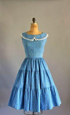 3b4d90ede0 Vintage 50s Dress   1950s Cotton Dress   Blue by WhenDecadesCollide Vintage  Outfits