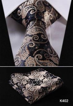 "K4 Series 3.4"" 100% Silk Jacquard Woven Tie & Pocket Square"