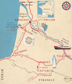 Illustration map of France Lonely Planet Magazine Maps