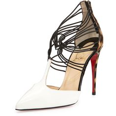 Christian Louboutin Confusa T-Strap Leather Red Sole Pump (£775) ❤ liked on Polyvore featuring shoes, pumps, heels, christian louboutin, scarpe, pointy-toe pumps, high heel pumps, pointed-toe pumps, leather shoes and leopard pumps