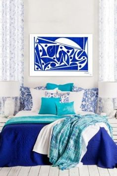 We love decorating with blue! Try warm hues like slate or ocean blue in social spaces (living room, dining area) and cool, soothing blues like cobalt and turquoise in a bedroom. Click to shop this look on Wayfair!