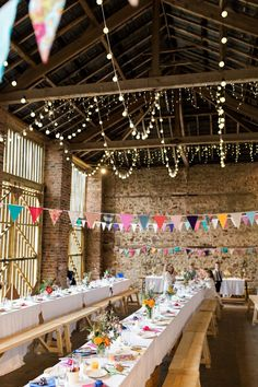35 Beautiful Wedding Bunting Ideas for your Big Day Weddings are all about cel - Wedding Bunting, Barn Wedding Venue, Wedding Reception, Barn Weddings, Wedding Ceremonies, Wedding Vows, Destination Weddings, Romantic Weddings, Wedding Updo