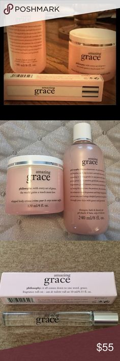 NWT Philosophy Amazing Grace Set Philosophy Amazing Grace set. Includes: 8 fl oz of shampoo, bath & shower gel, 4 fl oz of whipped body creme and fragrance roll-on in .33 fl oz size. Brand new and never used in original packaging Philosophy Makeup