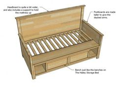 Ana White   Build a Hailey Storage Daybed with Back and Arms   Free and Easy DIY Project and Furniture Plans
