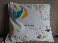 DIY - Pochoirs - Animaux Origami - Housse coussin