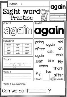 Nice Kindergarten Practice Worksheets Sight Words that you must know, Youre in good company if you?re looking for Kindergarten Practice Worksheets Sight Words Sight Word Worksheets, Sight Word Activities, Classroom Activities, Free Worksheets, Reading Worksheets, Printable Worksheets, Blends Worksheets, Fluency Activities, Coloring Worksheets