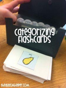 Categorizing Flashcards Work Task by theautismhelper.com.