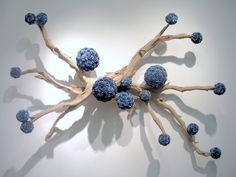 FL5017 Wall Mounted Ghostwood Wall Sculpture with Blue Wood Flower Spheres (Custom colors can be specified for ghostwood and spheres at an a...