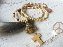 Kette ✪ Kreuz ✪ Buddha natur Holzperlen mala