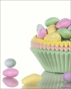 Use pastel cupcake wrappers as colorful mini-bowls for Easter candy